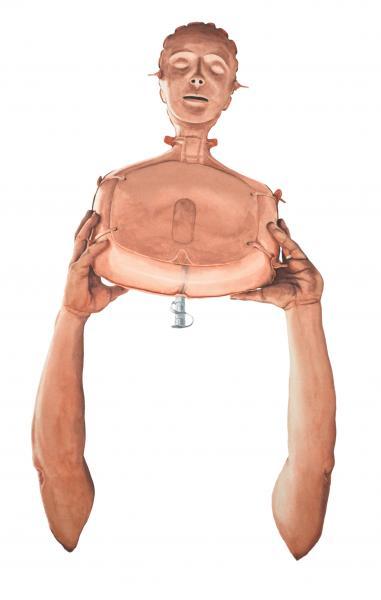 Ponemone fireman CPR dummy watercolor