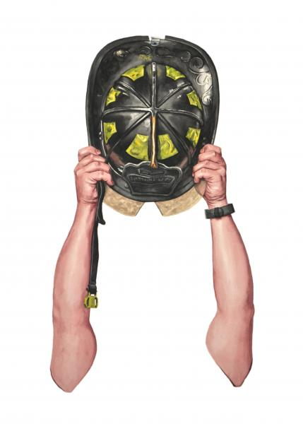 Ponemone fireman Helmet watercolor