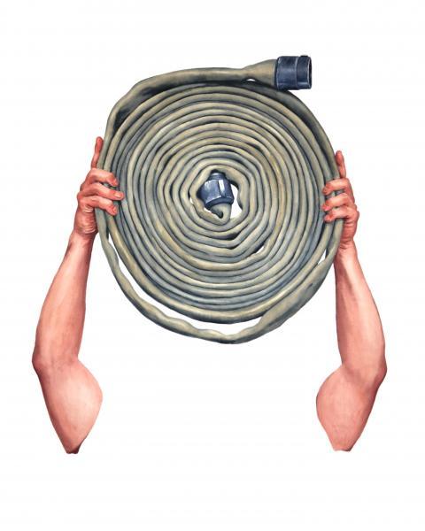 Ponemone Fireman Hose watercolor