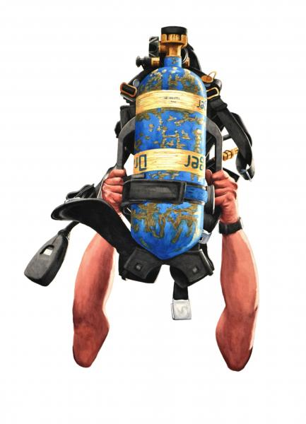 Ponemone fireman oxygen tank watercolor