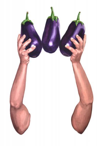 ponemone food watercolor eggplant