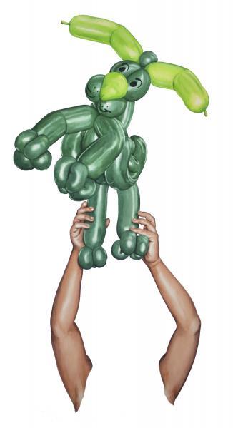 Ponemone watercolor plastic dog