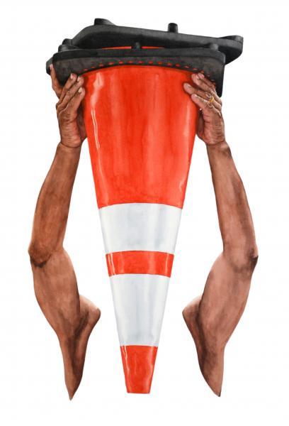 Ponemone watercolor road cone plastic
