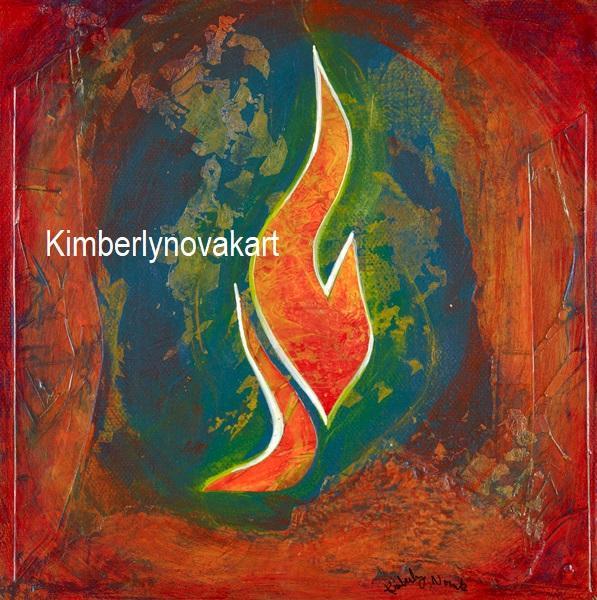 Fire, Spirit, India Ink Collage, Maryland Artist
