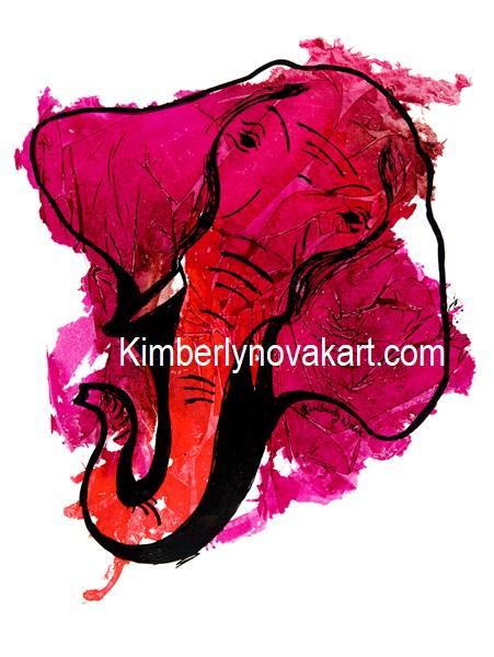 Elephant, Mama, Mom, India Ink, Animal, Africa