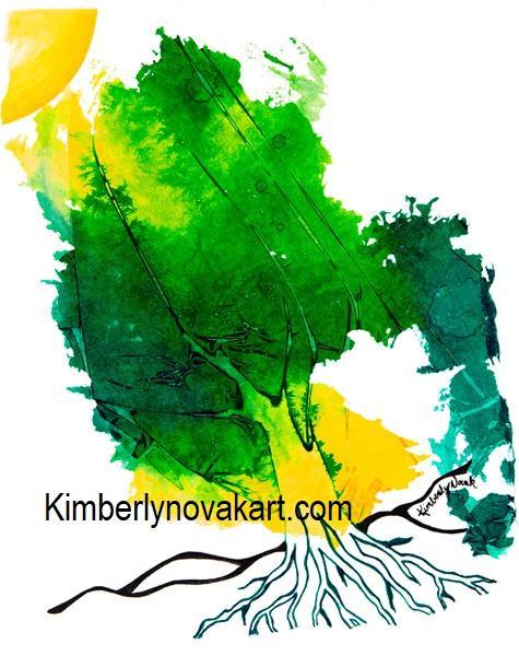 Tree, Sun, Growth, Nature, World, India Ink, Maryland Artist