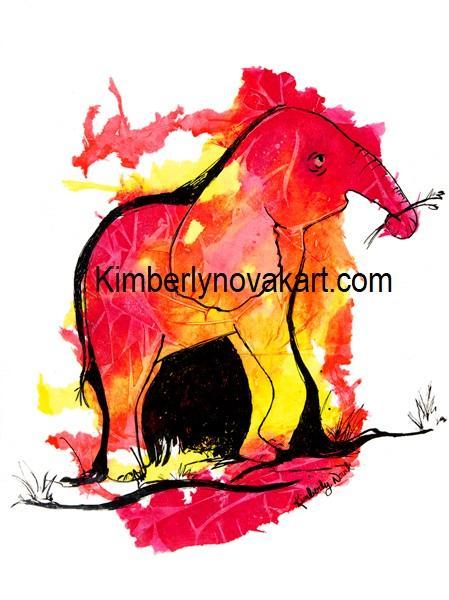 Elephant, Baby, Baby Elephant, India Ink, Art, Maryland Artist