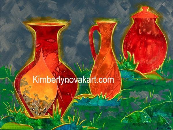 Jars of Clay, clay vessels, pots, treasure, hidden treasure, india ink, collage, spiritual