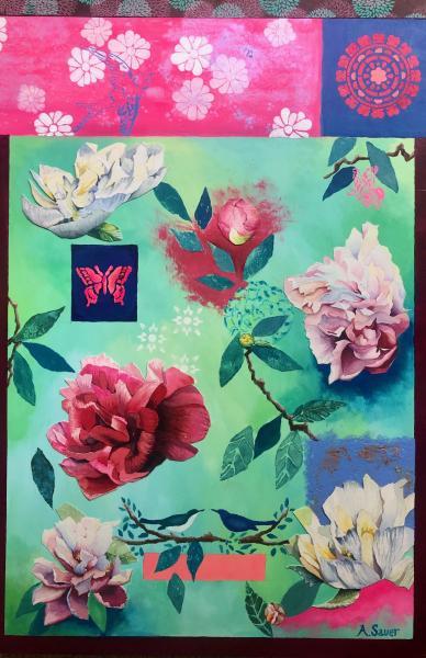 acrylic, printmaking, stamping, watercolor, floral, gilding
