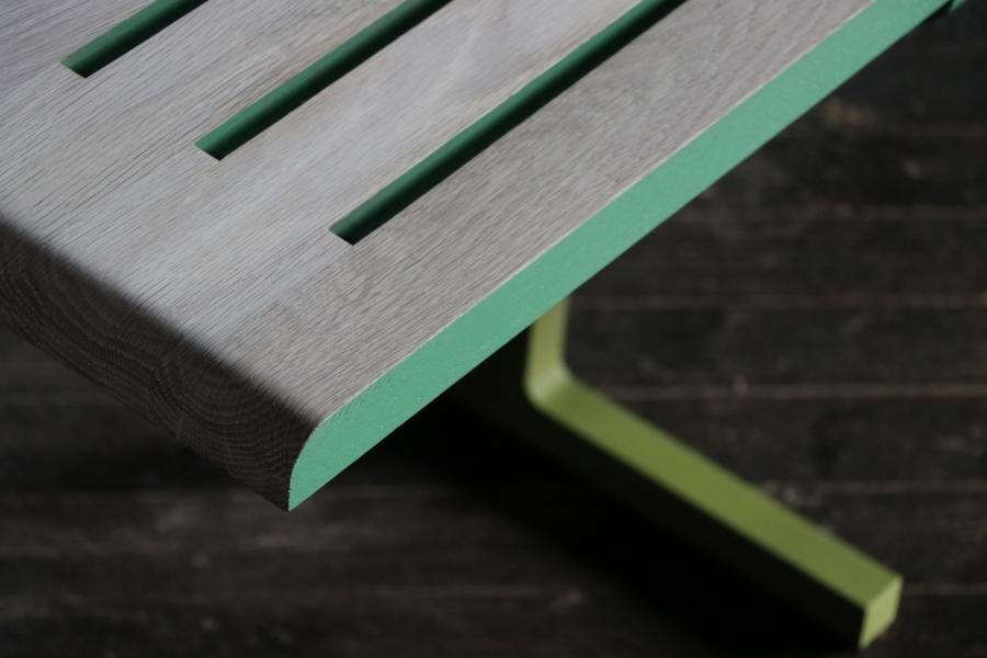 Detail of white oak seat surface