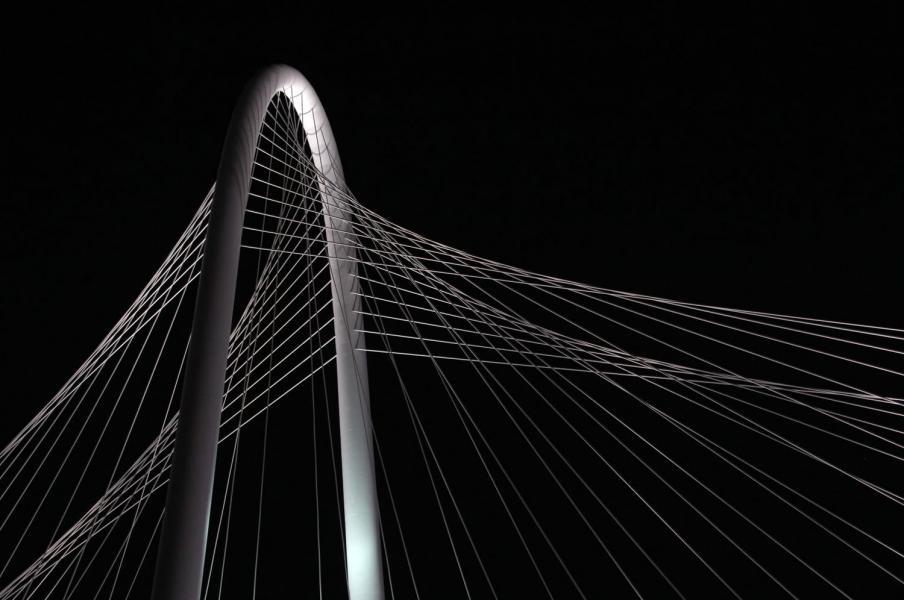 Bridge Margaret Hunt Hill Dallas Texas night abstract black white web architecture