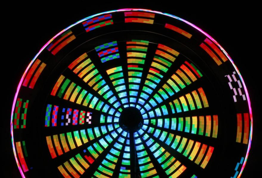 The Rainbow Wheel Ferris carnival Gamber Maryland Carroll County Volunteer Fire Department abstract night lights kaleidoscope motion time exposure long tripod