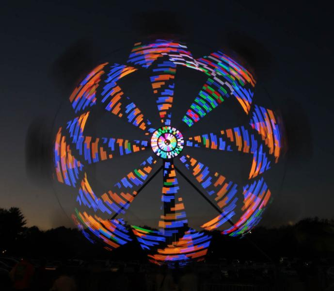Ferris Wheel at Dusk Ferris Wheel carnival Freedom Maryland Carroll County Volunteer Fire Department abstract night lights kaleidoscope motion time exposure long tripod