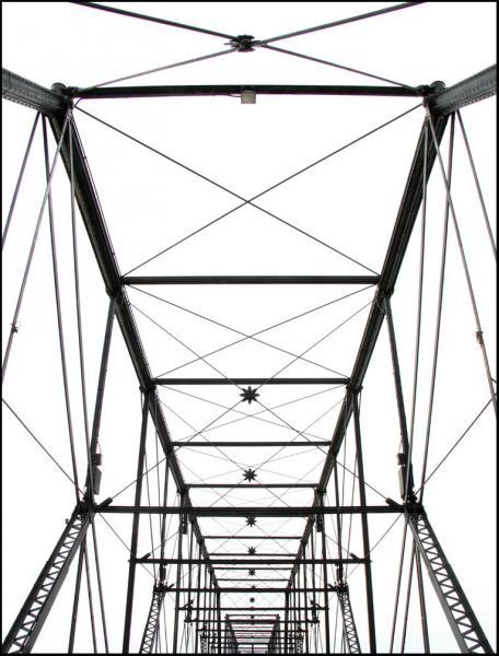 Old Shakey bridge Harrisburg Pennsylvania architecture black white Susquehanna River steel truss