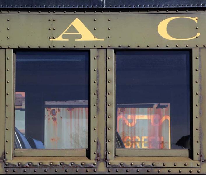 Riding in Coach railroad rail car passenger Lackawanna window Steamtown National Historic Site Scranton Pennsylvania