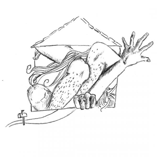Illustration from Portable Homes. House with body parts.