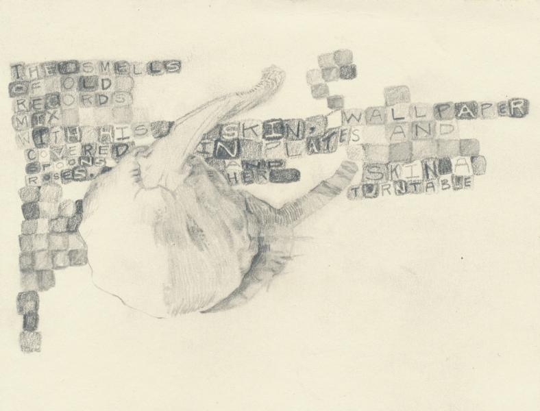 Squash with poem drawn in pencil.