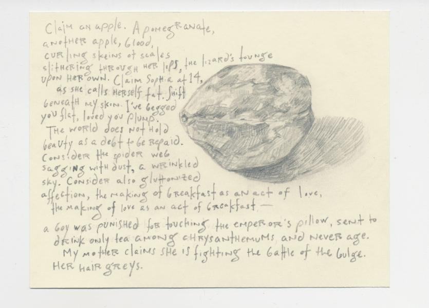 Drawing of a plum with a poem.