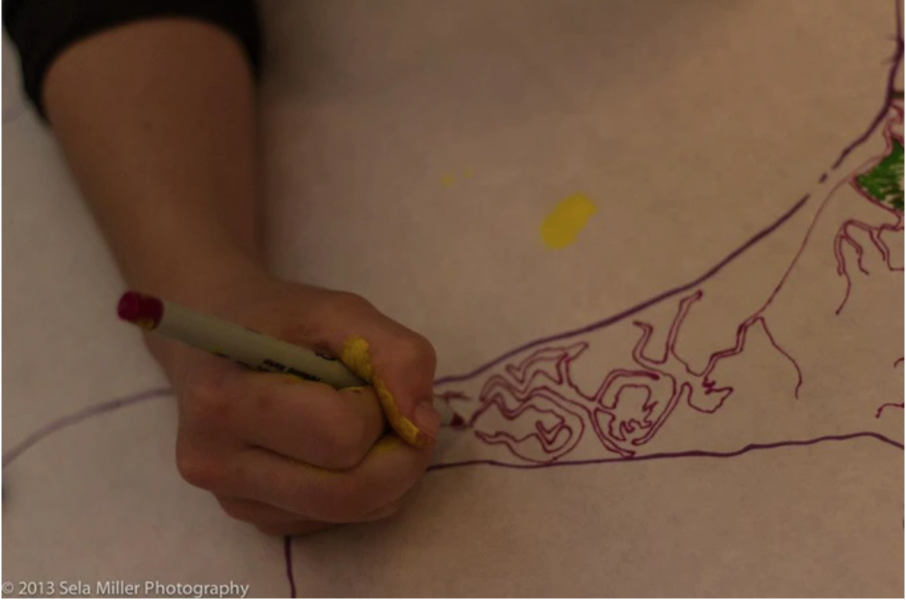 Workshop participant working on body map. Body maps are body tracings that are filled in with drawings and stories.