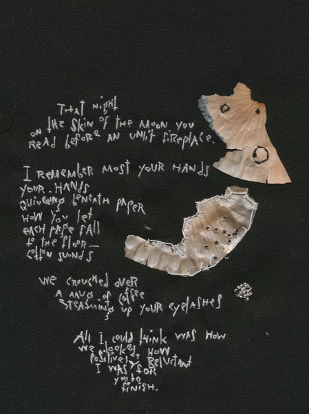 Embroidery with onion skin and words. That night on the skin of the moon...