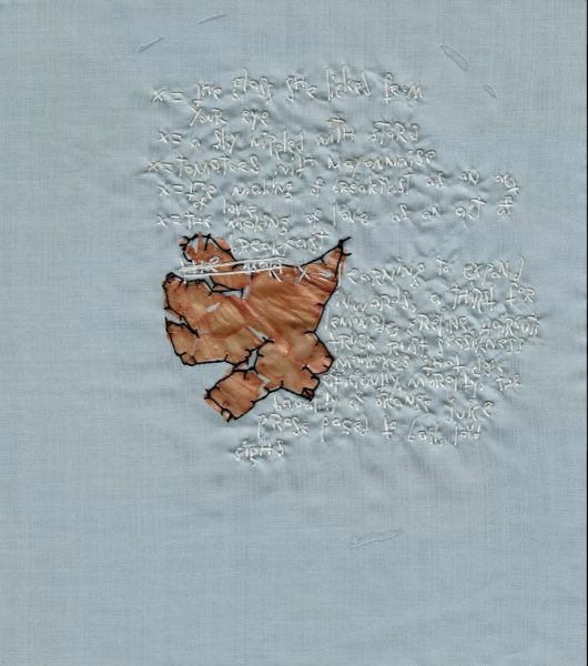 Embroidery with onion skin and words. X=