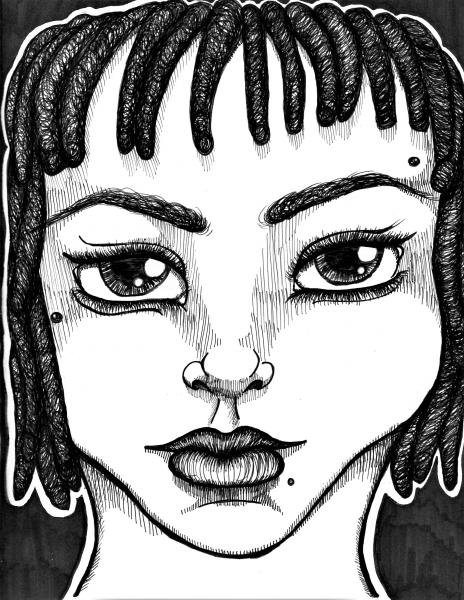 illustration, pen and ink, face, portrait, cartoon, black and white