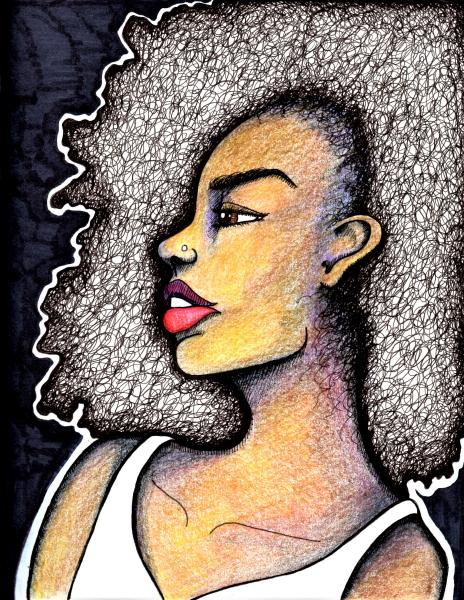 black art, black woman, portrait, hair, afro, natural hair