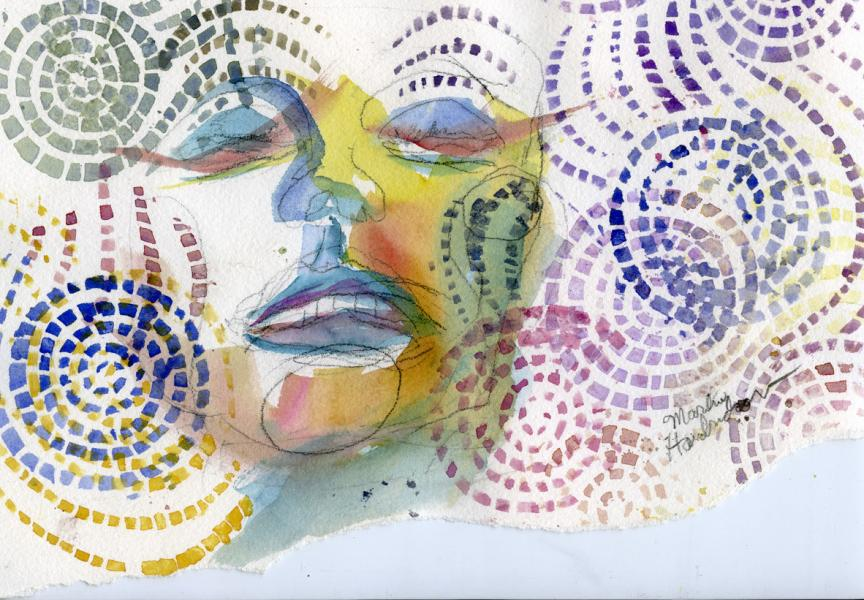 Watercolor of face with pattern