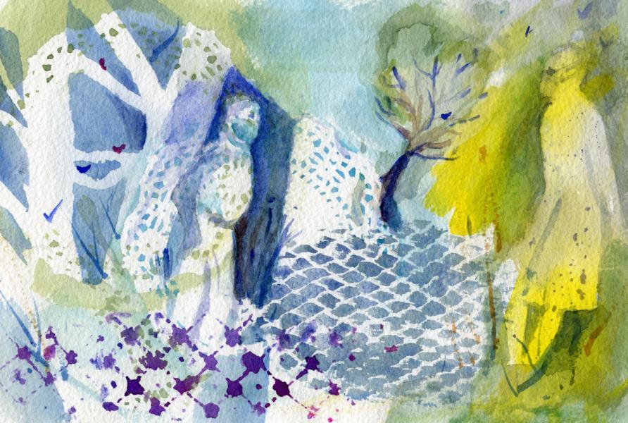 Watercolors of figures wearing masks