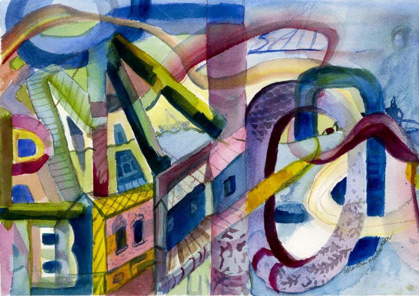 Watercolor painting with images of letters and buildings.