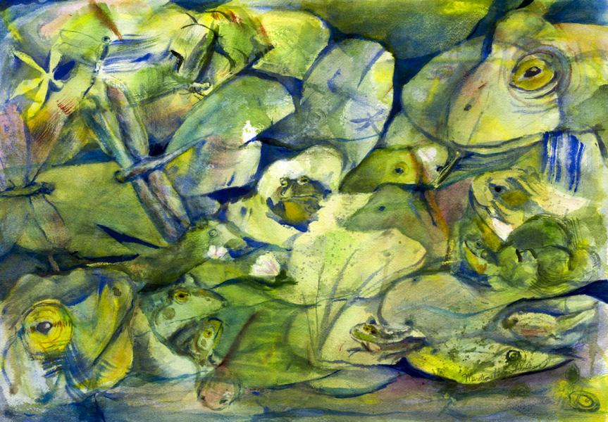 Watercolor painting of frogs in different stages
