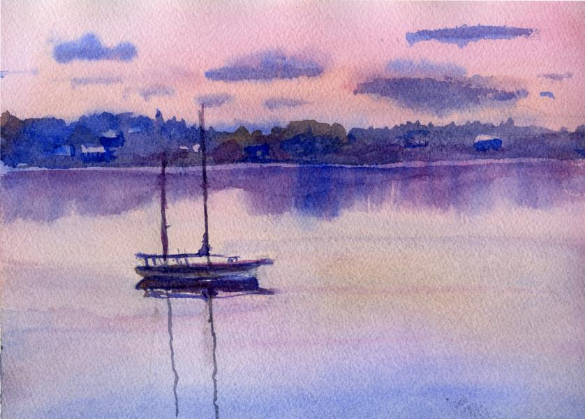 Watercolor of boat on water