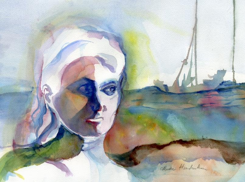Watercolor painting of lady's head and shoulders