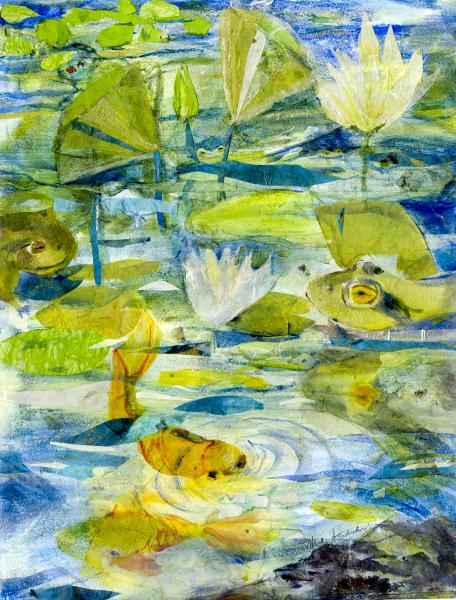 Mixed media painting of pond with frogs and waterlilies