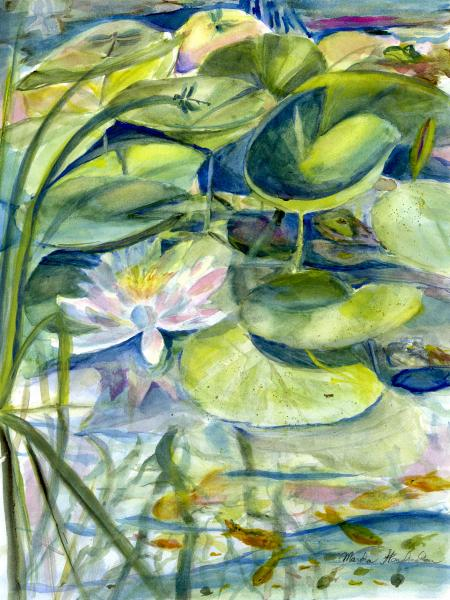 Watercolor Painting of Pond Life with Waterlily