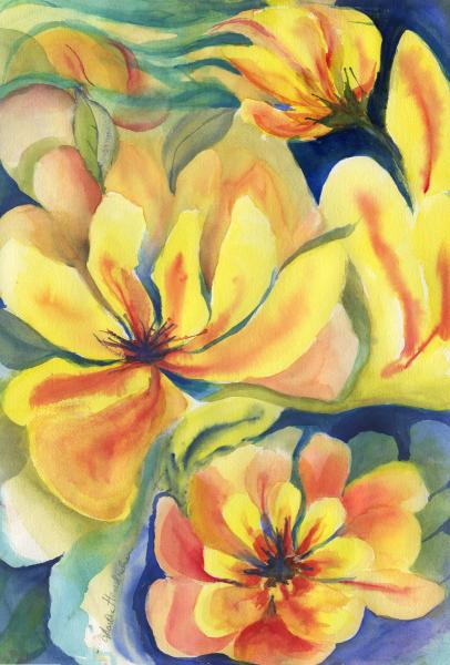 Watercolor of Yellow imaginary flowers