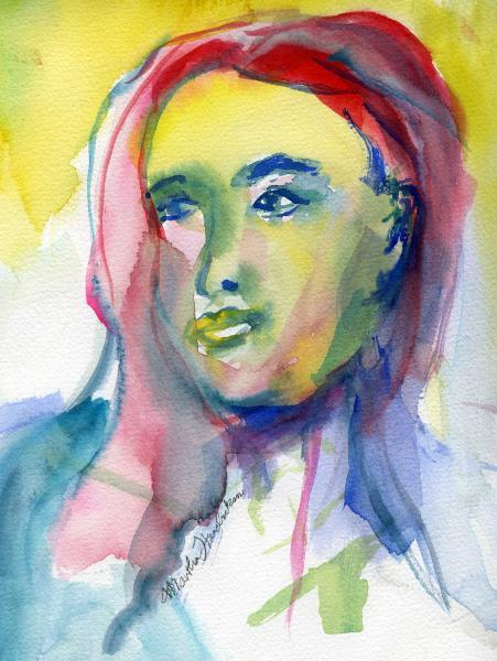Watercolor of colorful face