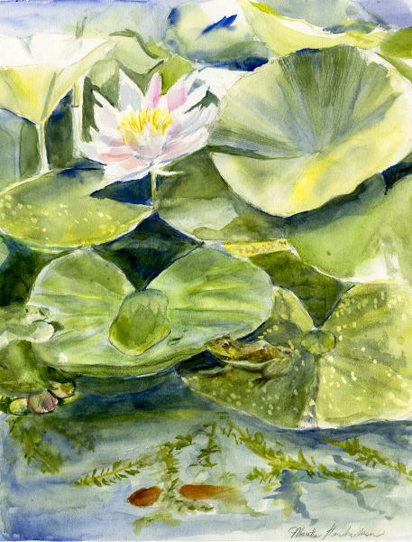 Watercolor painting of pond with waterlilies and frogs