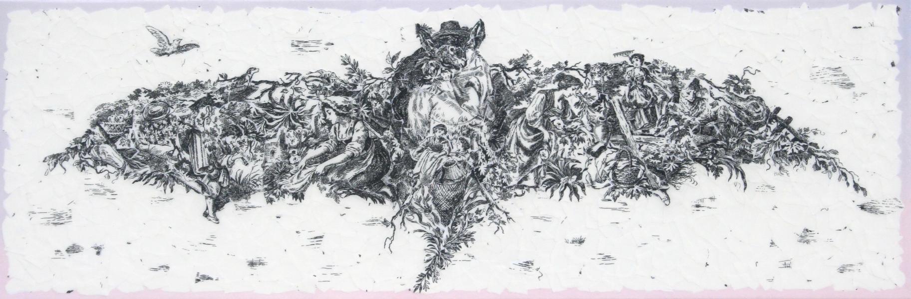 bat art, Kate Norris art, mixed media collage, superheroes art