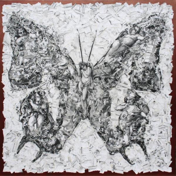 butterfly art, mixed media collage, kate norris art, cherubs, collage art