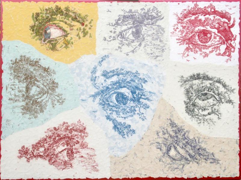 eye art, Kate Norris Art, mixed media collage, collage art