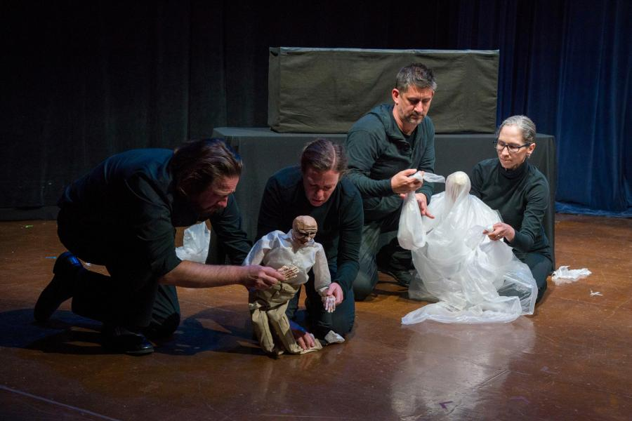 """Whiskey""ensemble puppet piece at the O'Neill Puppetry Conference 2019"