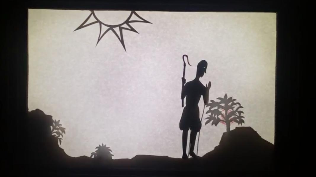 "Still from a video of the shadow puppet show ""The Legend of the World's Most Magical Substance"""
