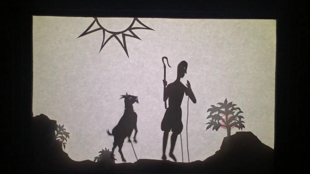 "Still from a video of the shadow puppet show, ""The Legend of the World's Most Magical Substance"""