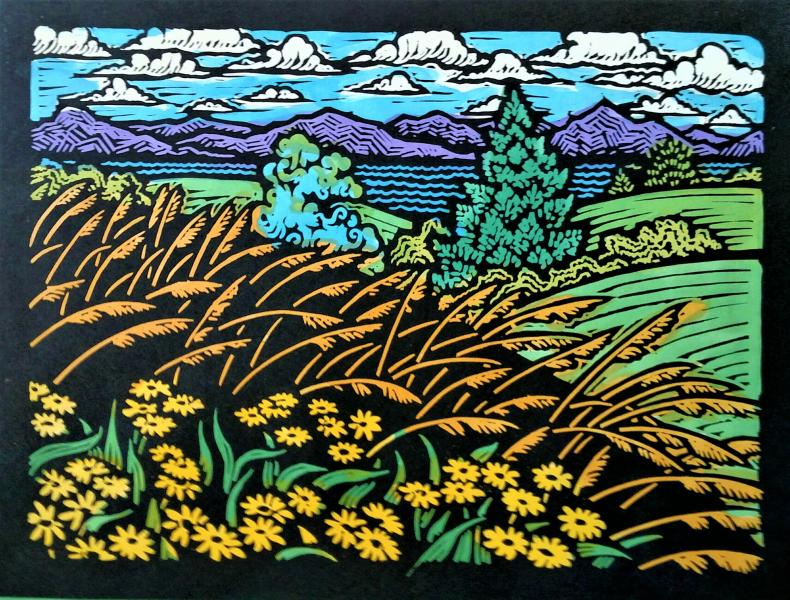 "Beautiful Field I (Yellow Flowers) - 9"" x 12"" - Linoleum block print with water color on handmade Kozo paper"