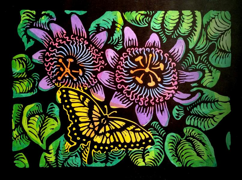 """Swallowtail Butterfly and Passion Flowers"" - Linoleum block print and water color and gold leaf on Kozo paper - 11"" x 14"""