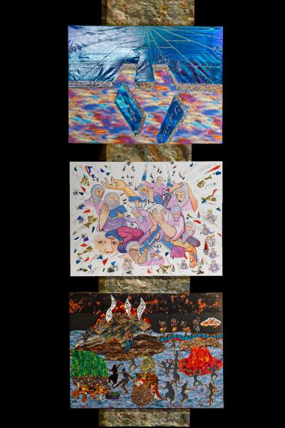 Black Fire on White Fire: Mount Sinai and the Golden Calf Mixed Media Triptych 2019