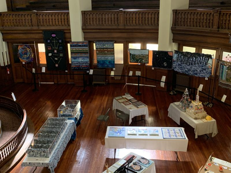 Overview of the Creation Series on exhibit in Lovely Lane United Methodist Church's Brannon Chapel.