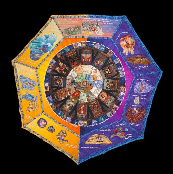 Sun in the center & moving outward the seasons, the months year illustrated by holidays or Torah readings and stars, weeks  by phases of the Moon