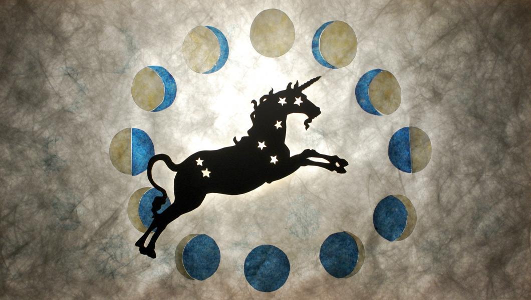 Unicorn constellation shadow puppet